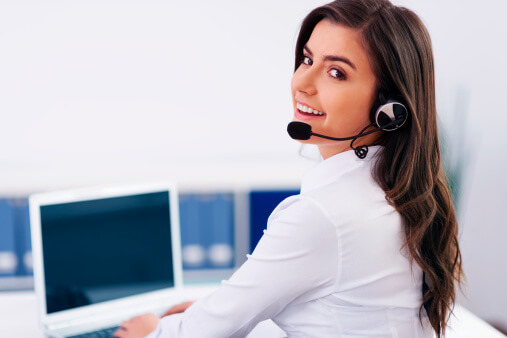 call center woman at phone